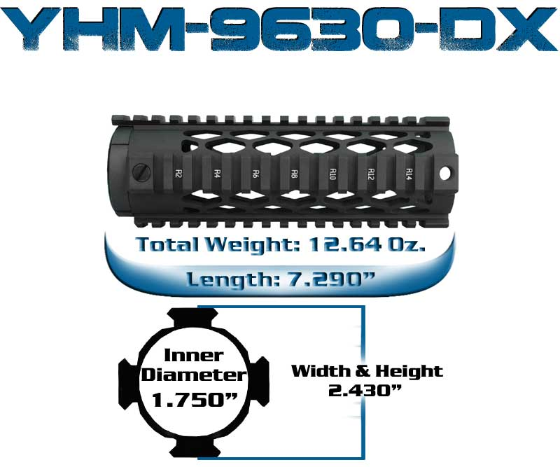 YHM Carbile Length Diamond Quad Rail